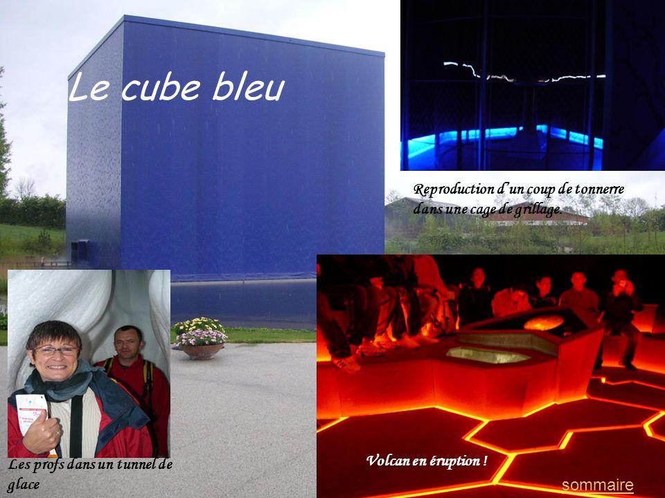 Le cube bleu Les profs dans un tunnel de glace Reproduction dun coup de tonnerre dans une cage de grillage. Volcan en éruption ! sommaire