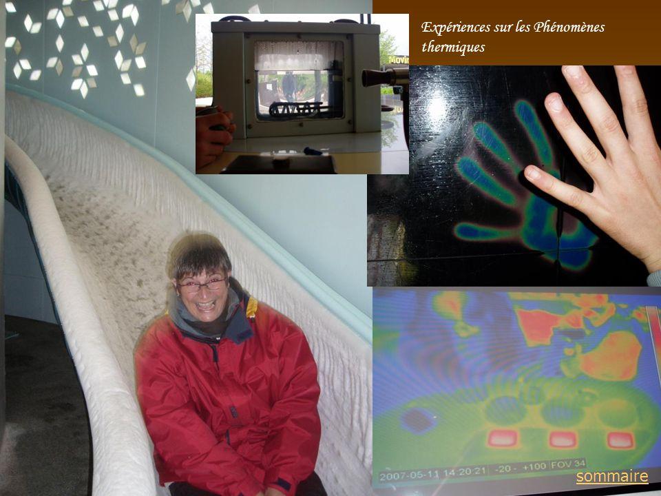 Expériences sur les Phénomènes thermiques sommaire
