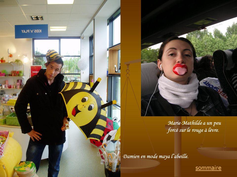 Damien en mode maya labeille. Marie-Mathilde a un peu forcé sur le rouge à lèvre. sommaire