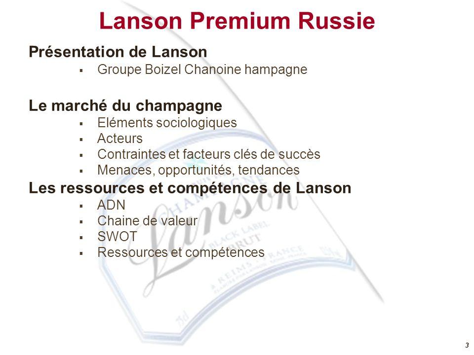 22 Lanson Premium Russie Présentation de Lanson Groupe Boizel Chanoine hampagne Le marché du champagne Eléments sociologiques Acteurs Contraintes et facteurs clés de succès Menaces, opportunités, tendances Les ressources et compétences de Lanson ADN Chaine de valeur SWOT Ressources et compétences
