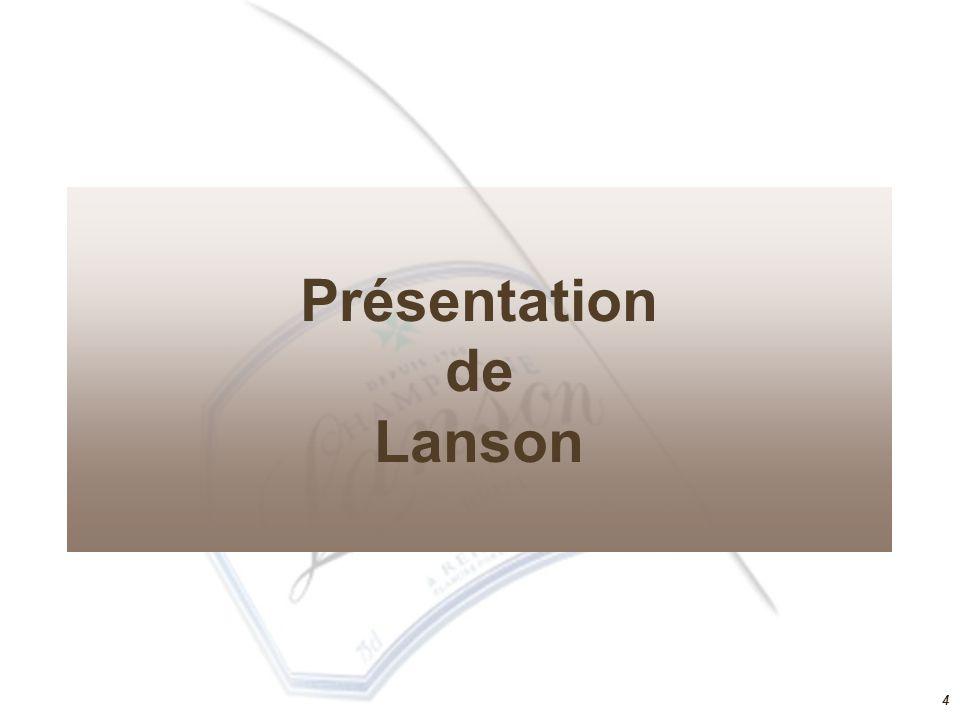 33 Lanson Premium Russie Présentation de Lanson Groupe Boizel Chanoine hampagne Le marché du champagne Eléments sociologiques Acteurs Contraintes et facteurs clés de succès Menaces, opportunités, tendances Les ressources et compétences de Lanson ADN Chaine de valeur SWOT Ressources et compétences
