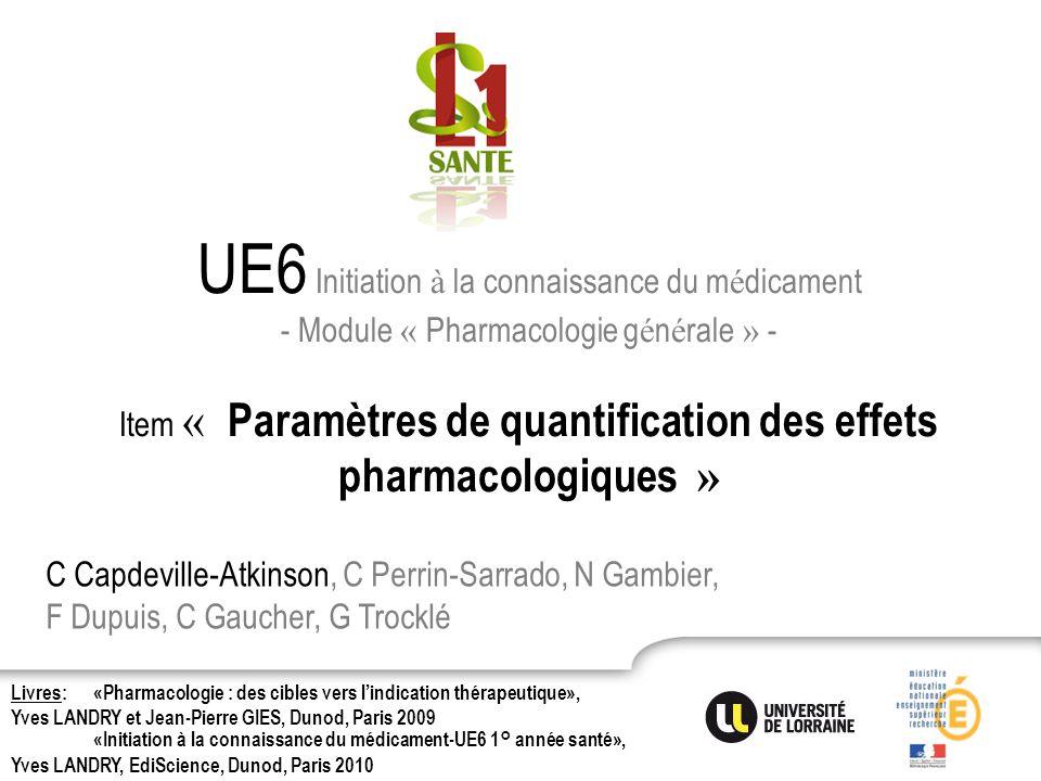 UE6 Initiation à la connaissance du m é dicament - Module « Pharmacologie g é n é rale » - Item « Paramètres de quantification des effets pharmacologi