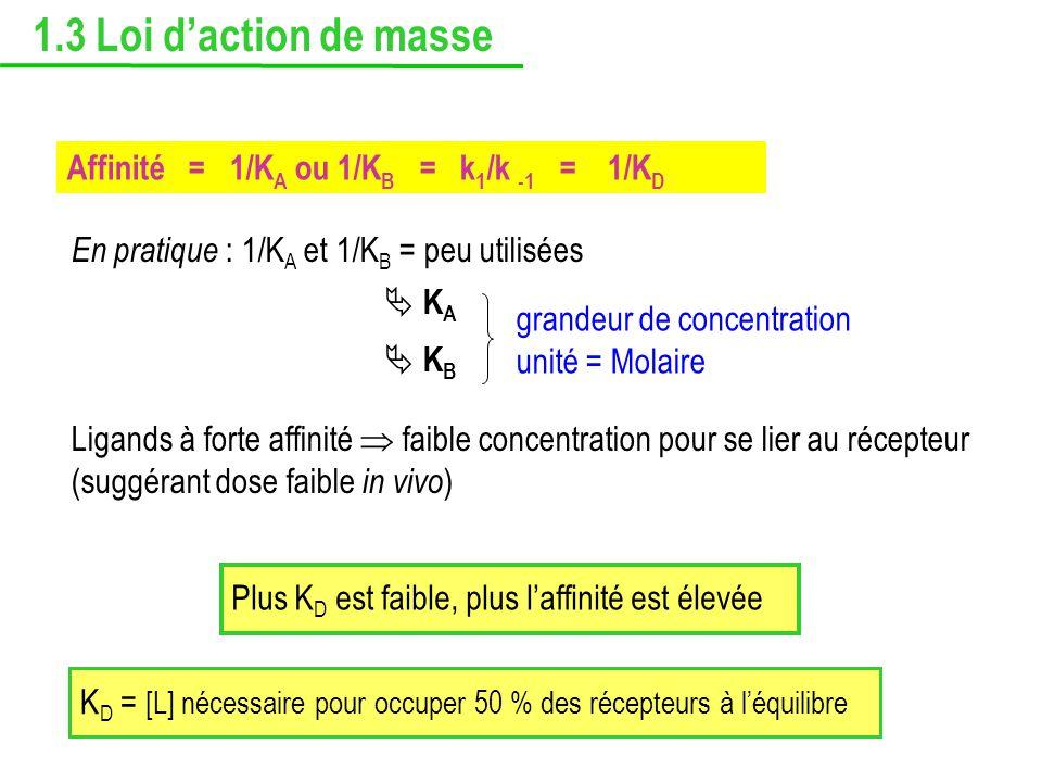 Affinité = 1/K A ou 1/K B = k 1 /k -1 = 1/K D En pratique : 1/K A et 1/K B = peu utilisées K A K B Ligands à forte affinité faible concentration pour