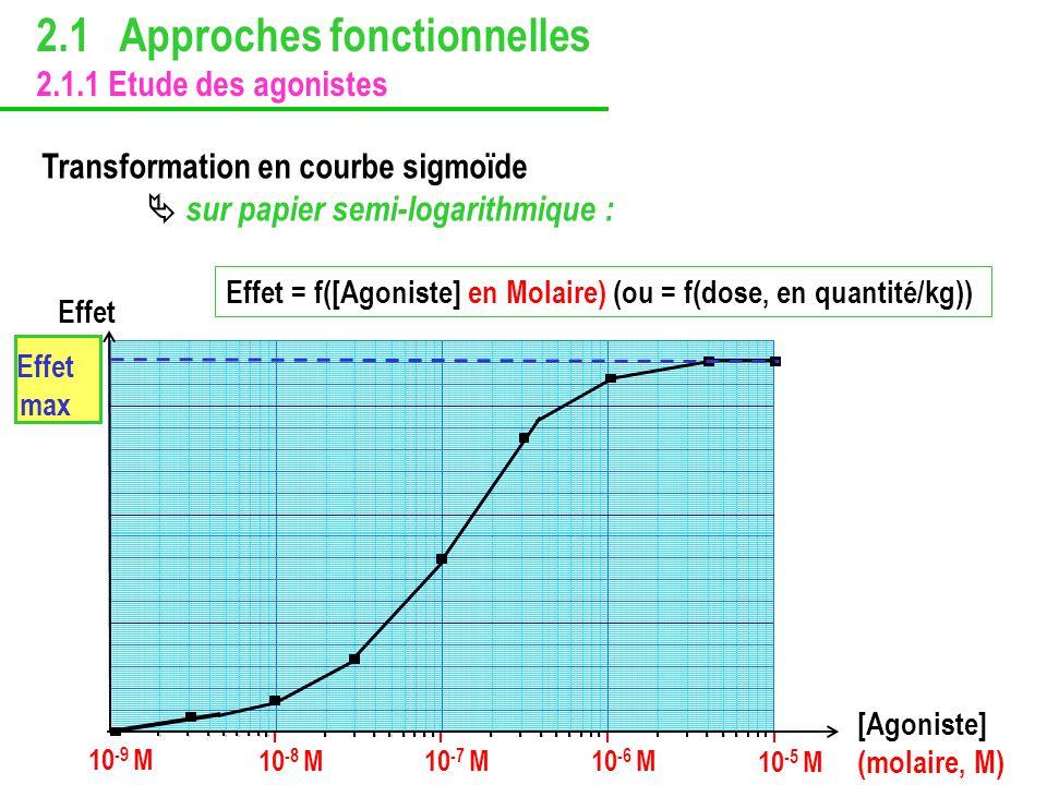2.1 Approches fonctionnelles 2.1.1 Etude des agonistes Transformation en courbe sigmoïde sur papier semi-logarithmique : 10 -9 M 10 -8 M 10 -7 M10 -6