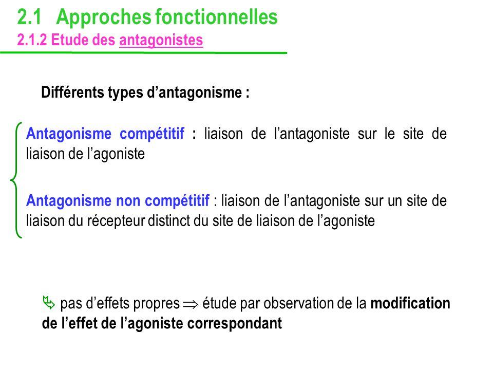 Antagonisme compétitif : liaison de lantagoniste sur le site de liaison de lagoniste Différents types dantagonisme : Antagonisme non compétitif : liai