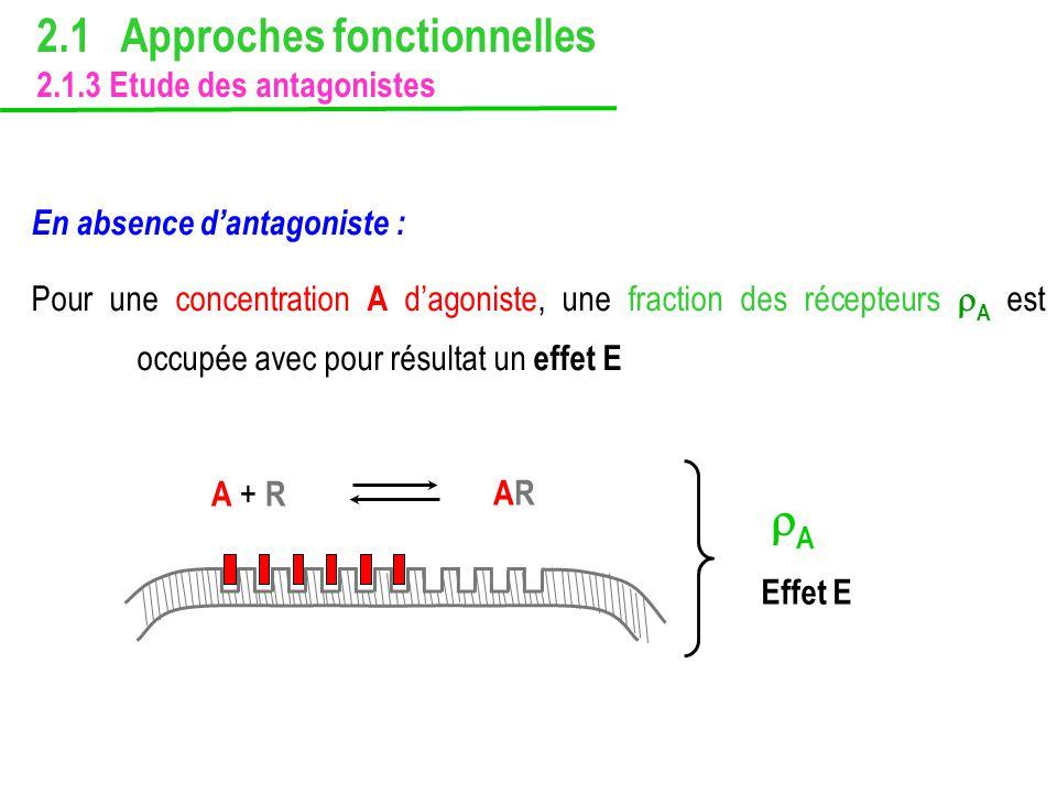 En absence dantagoniste : Pour une concentration A dagoniste, une fraction des récepteurs A est occupée avec pour résultat un effet E 2.1 Approches fo