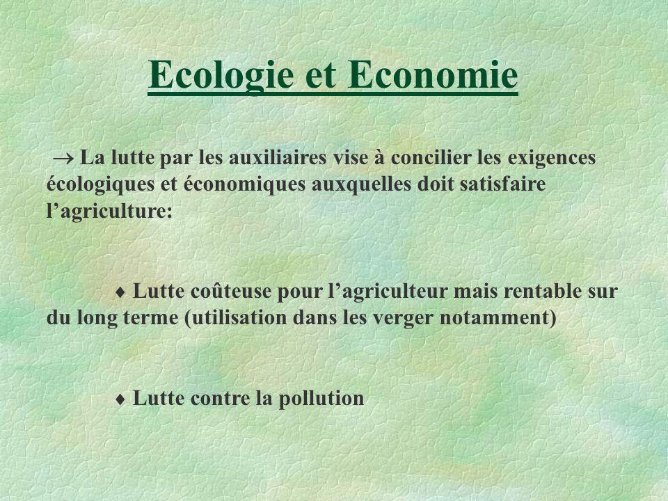 Ecologie et Economie La lutte par les auxiliaires vise à concilier les exigences écologiques et économiques auxquelles doit satisfaire lagriculture: L