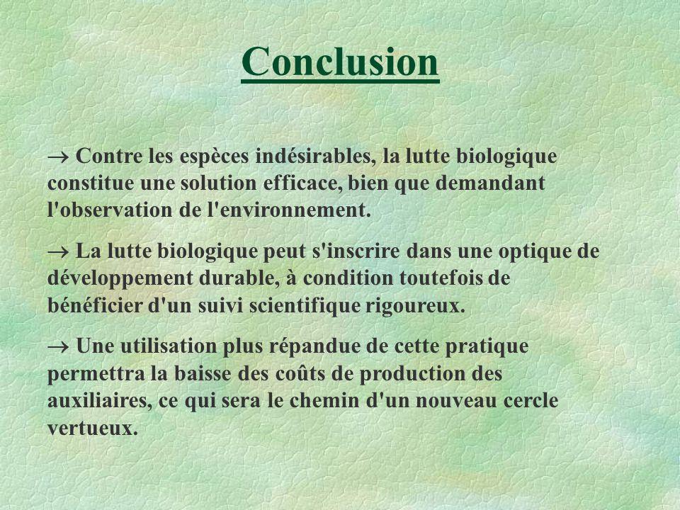 Conclusion Contre les espèces indésirables, la lutte biologique constitue une solution efficace, bien que demandant l'observation de l'environnement.