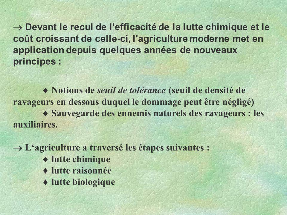 Lutte chimique Consiste à utiliser des produits phytosanitaires: les pesticides Fongicides (contre les champignons) Insecticides (contre les insectes) Nématicides (contre les nématodes) Intervient dans la culture intensive