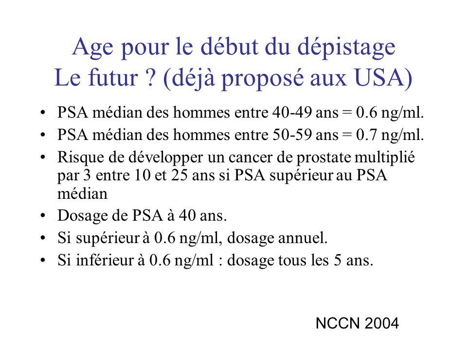 Age pour le début du dépistage Le futur ? (déjà proposé aux USA) PSA médian des hommes entre 40-49 ans = 0.6 ng/ml. PSA médian des hommes entre 50-59