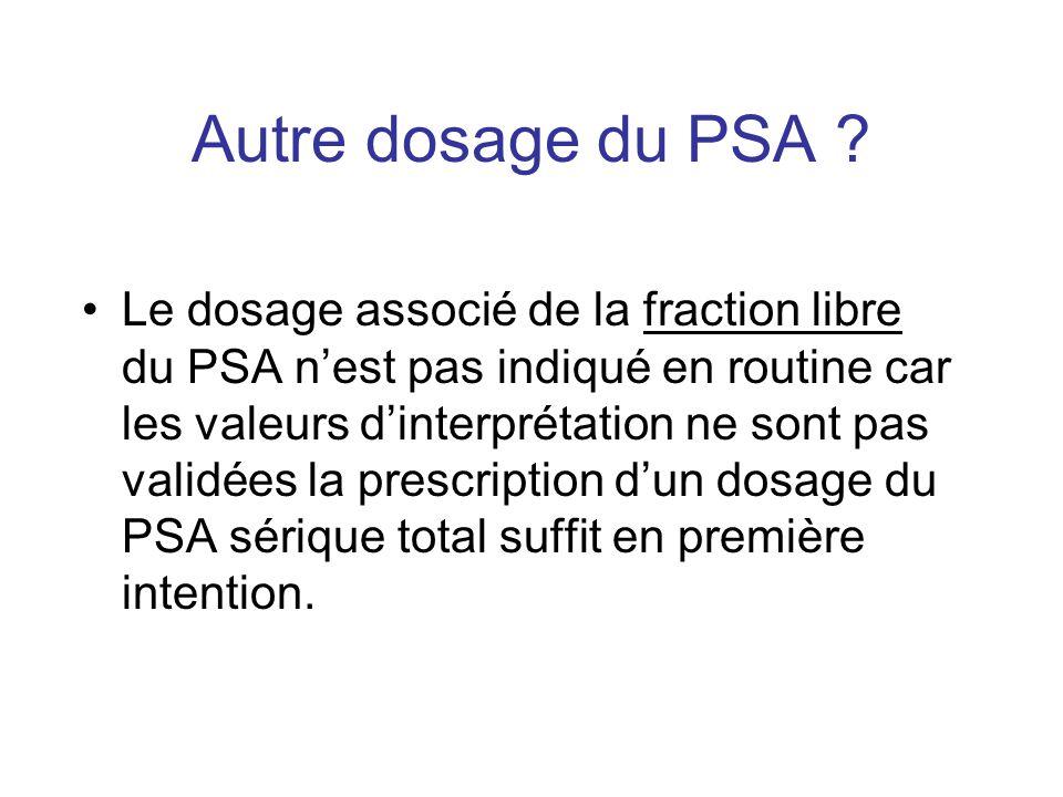 Autre dosage du PSA ? Le dosage associé de la fraction libre du PSA nest pas indiqué en routine car les valeurs dinterprétation ne sont pas validées l