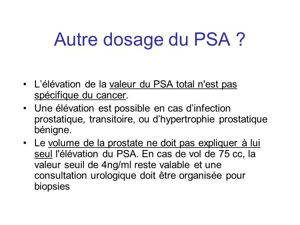 Autre dosage du PSA ? Lélévation de la valeur du PSA total n'est pas spécifique du cancer. Une élévation est possible en cas dinfection prostatique, t
