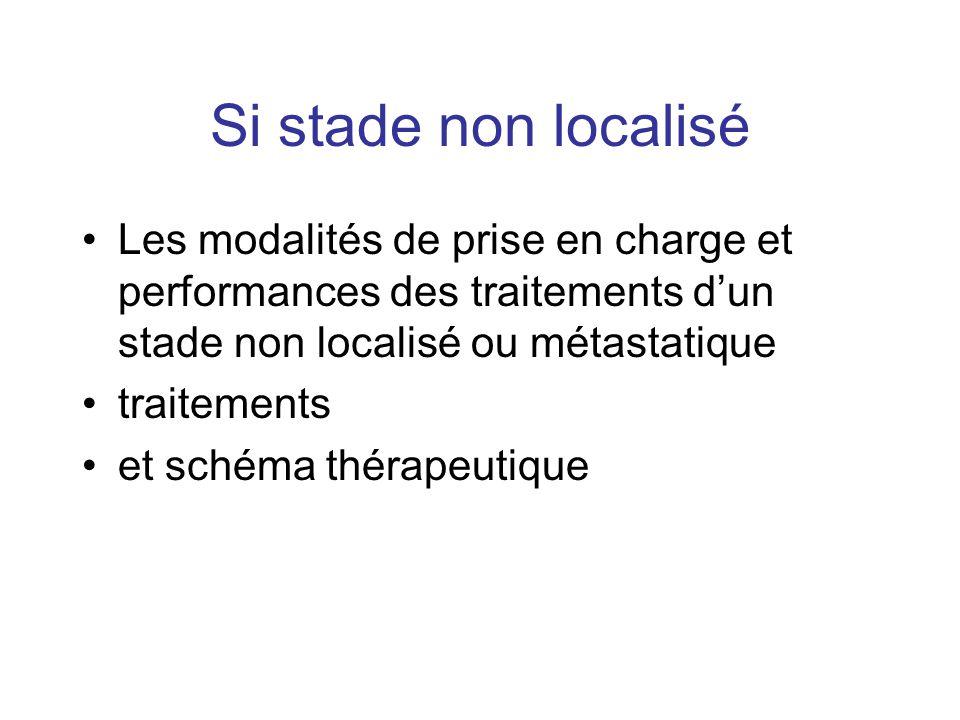 Si stade non localisé Les modalités de prise en charge et performances des traitements dun stade non localisé ou métastatique traitements et schéma th