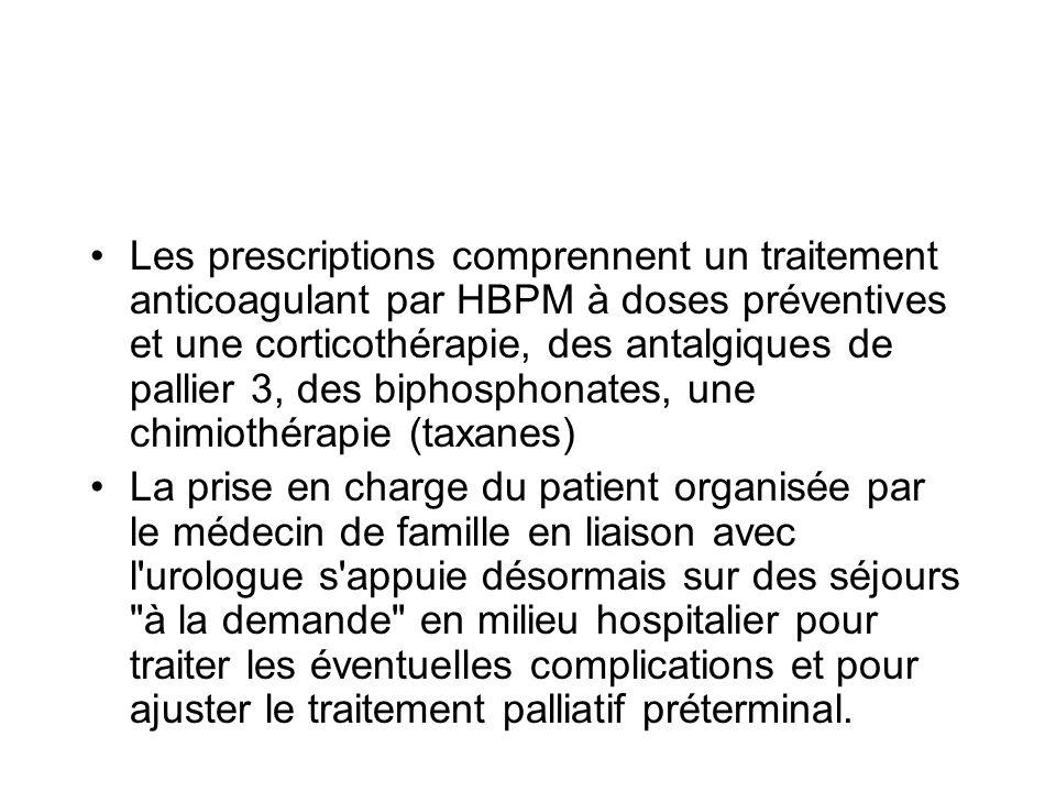 Les prescriptions comprennent un traitement anticoagulant par HBPM à doses préventives et une corticothérapie, des antalgiques de pallier 3, des bipho