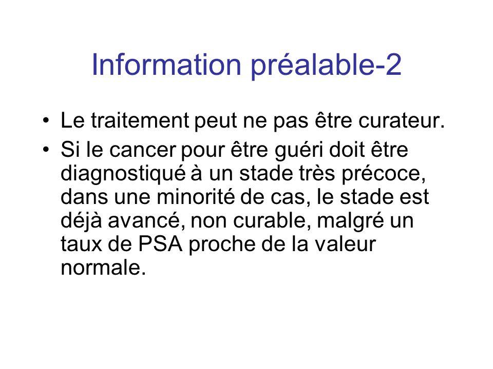 Information préalable-2 Le traitement peut ne pas être curateur. Si le cancer pour être guéri doit être diagnostiqué à un stade très précoce, dans une