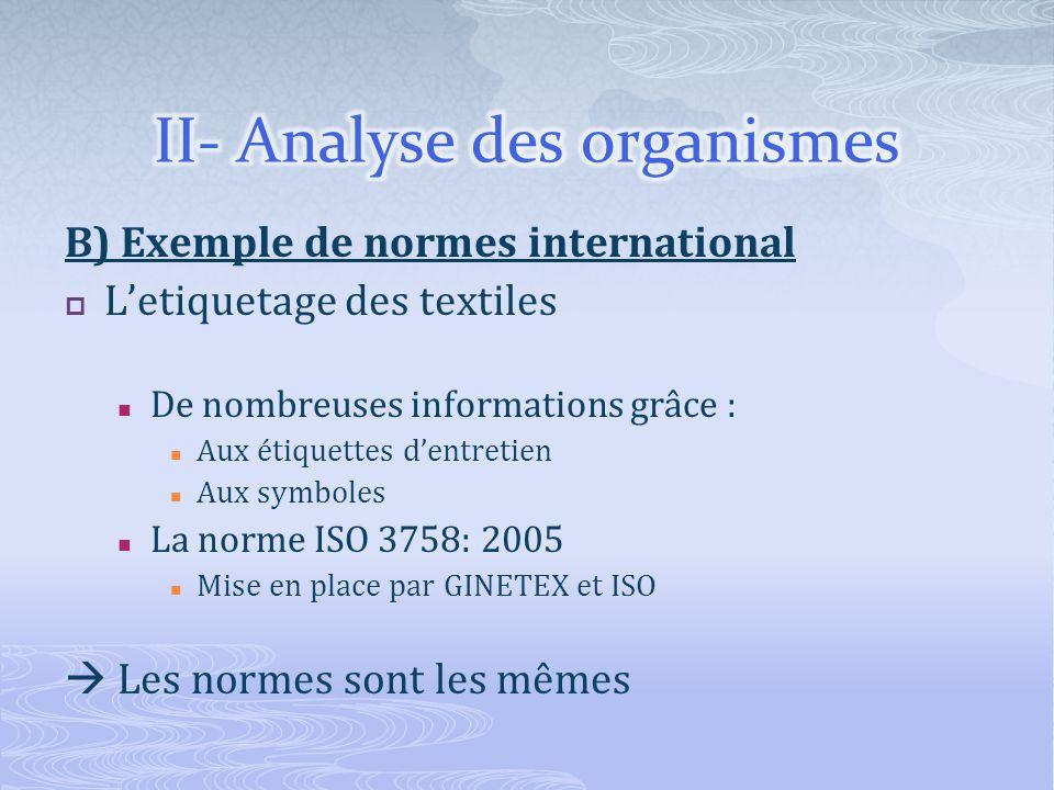 B) Exemple de normes international Letiquetage des textiles De nombreuses informations grâce : Aux étiquettes dentretien Aux symboles La norme ISO 3758: 2005 Mise en place par GINETEX et ISO Les normes sont les mêmes