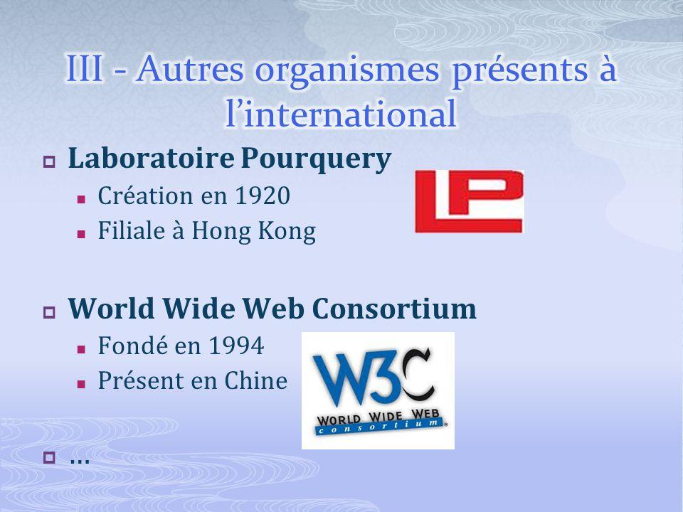 Laboratoire Pourquery Création en 1920 Filiale à Hong Kong World Wide Web Consortium Fondé en 1994 Présent en Chine …