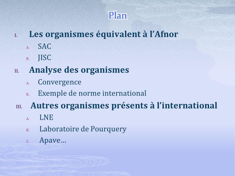 I. Les organismes équivalent à lAfnor A. SAC B. JISC II. Analyse des organismes A. Convergence B. Exemple de norme international III. Autres organisme