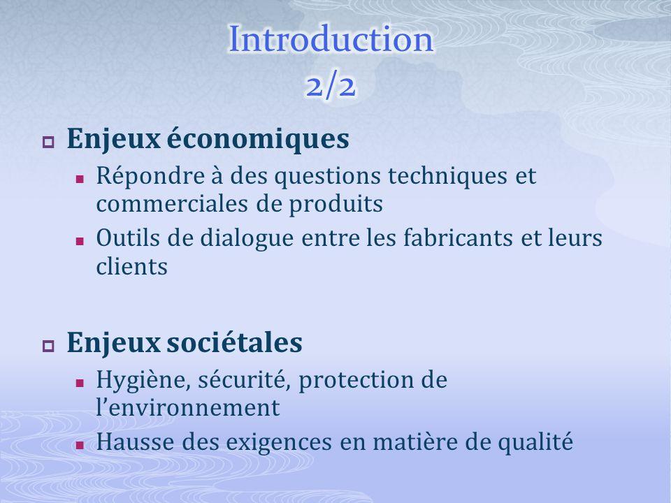 Enjeux économiques Répondre à des questions techniques et commerciales de produits Outils de dialogue entre les fabricants et leurs clients Enjeux sociétales Hygiène, sécurité, protection de lenvironnement Hausse des exigences en matière de qualité