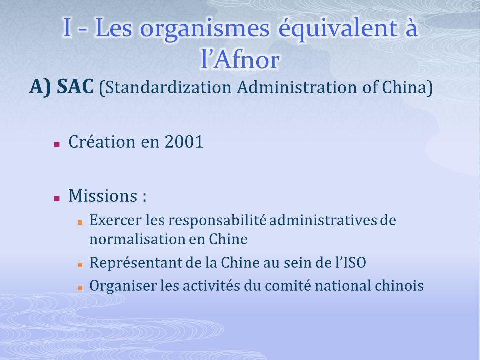 A) SAC (Standardization Administration of China) Création en 2001 Missions : Exercer les responsabilité administratives de normalisation en Chine Représentant de la Chine au sein de lISO Organiser les activités du comité national chinois