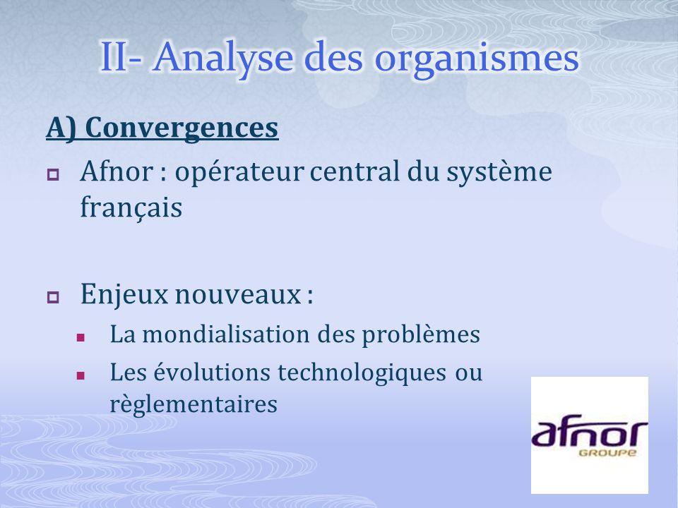 A) Convergences Afnor : opérateur central du système français Enjeux nouveaux : La mondialisation des problèmes Les évolutions technologiques ou règle