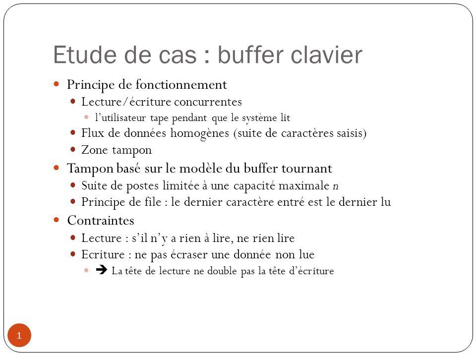 Etude de cas : buffer clavier 1 Principe de fonctionnement Lecture/écriture concurrentes lutilisateur tape pendant que le système lit Flux de données