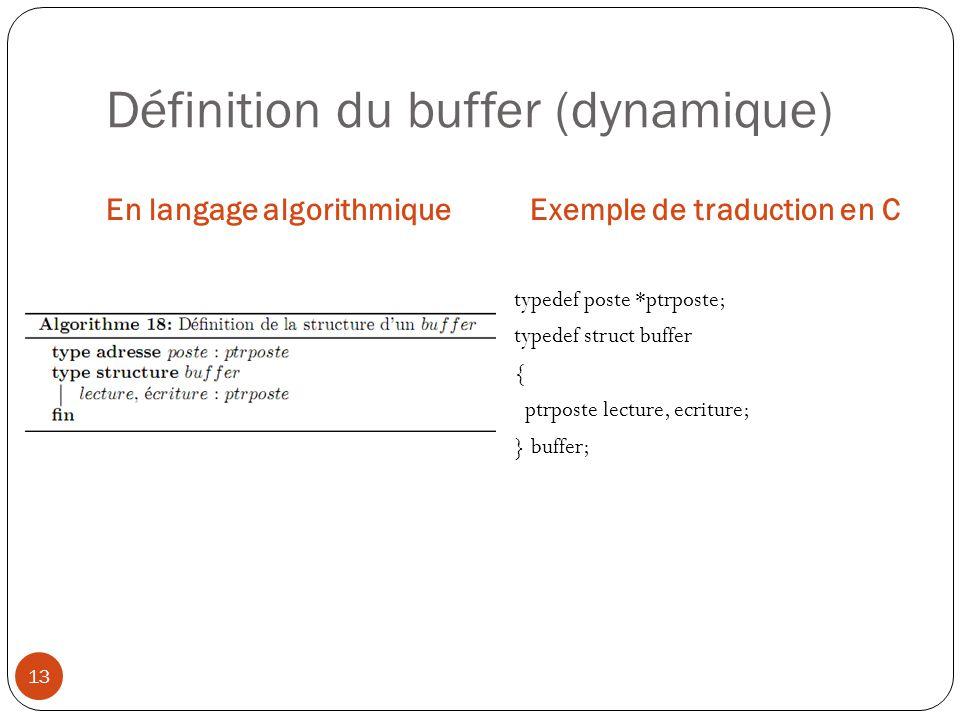 Définition du buffer (dynamique) En langage algorithmiqueExemple de traduction en C 13 typedef poste *ptrposte; typedef struct buffer { ptrposte lectu