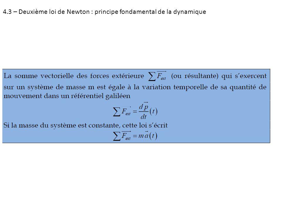 4.3 – Deuxième loi de Newton : principe fondamental de la dynamique