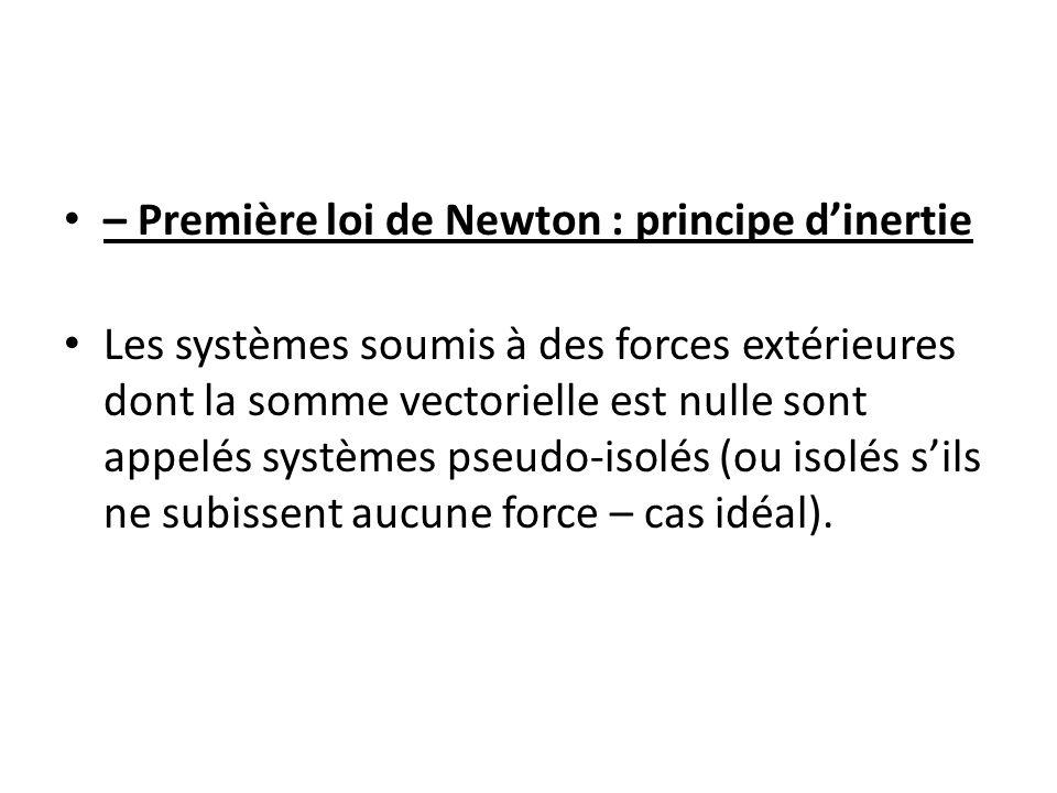 – Première loi de Newton : principe dinertie Les systèmes soumis à des forces extérieures dont la somme vectorielle est nulle sont appelés systèmes ps
