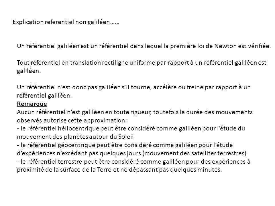 Explication referentiel non galiléen…… Un référentiel galiléen est un référentiel dans lequel la première loi de Newton est vérifiée. Tout référentiel