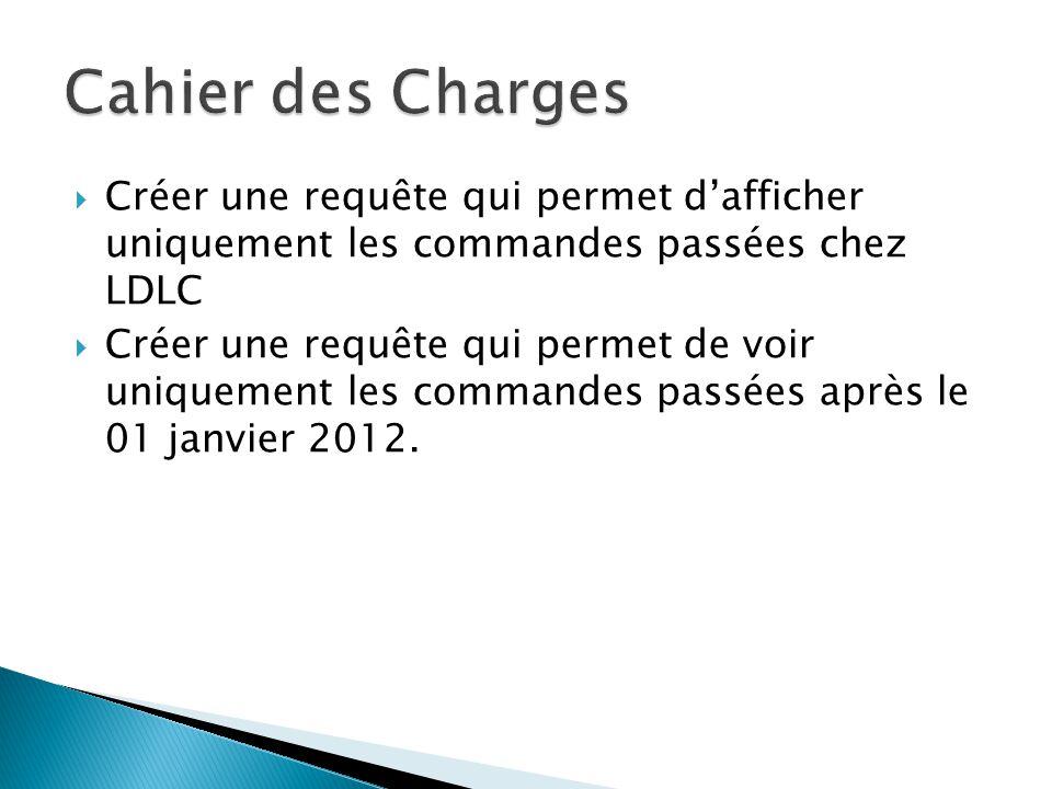 Créer une requête qui permet dafficher uniquement les commandes passées chez LDLC Créer une requête qui permet de voir uniquement les commandes passées après le 01 janvier 2012.