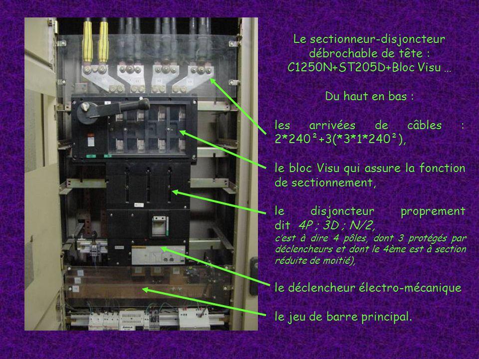 Le sectionneur-disjoncteur débrochable de tête : C1250N+ST205D+Bloc Visu … Du haut en bas : les arrivées de câbles : 2*240²+3(*3*1*240²), le bloc Visu qui assure la fonction de sectionnement, le disjoncteur proprement dit 4P ; 3D ; N/2, cest à dire 4 pôles, dont 3 protégés par déclencheurs et dont le 4ème est à section réduite de moitié), le déclencheur électro-mécanique le jeu de barre principal.
