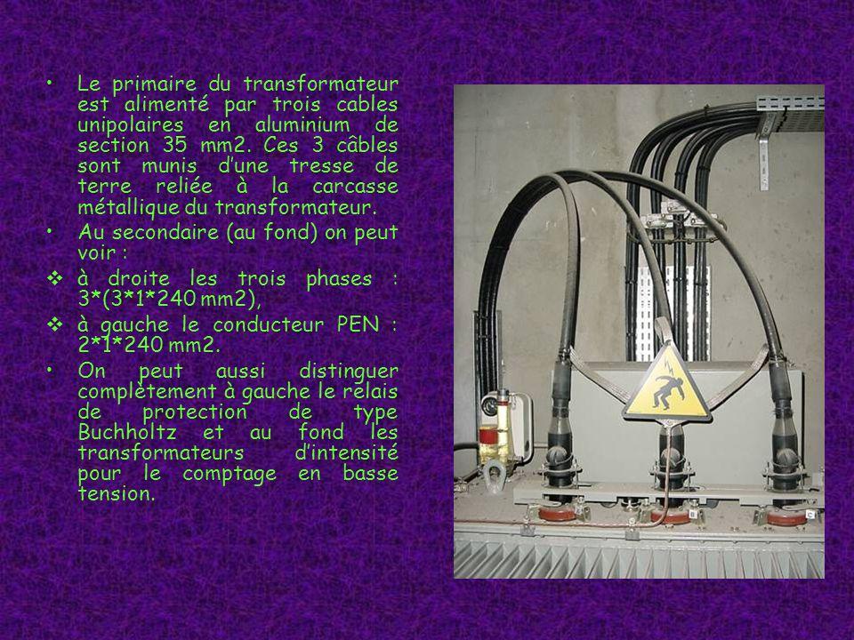 Le primaire du transformateur est alimenté par trois cables unipolaires en aluminium de section 35 mm2.