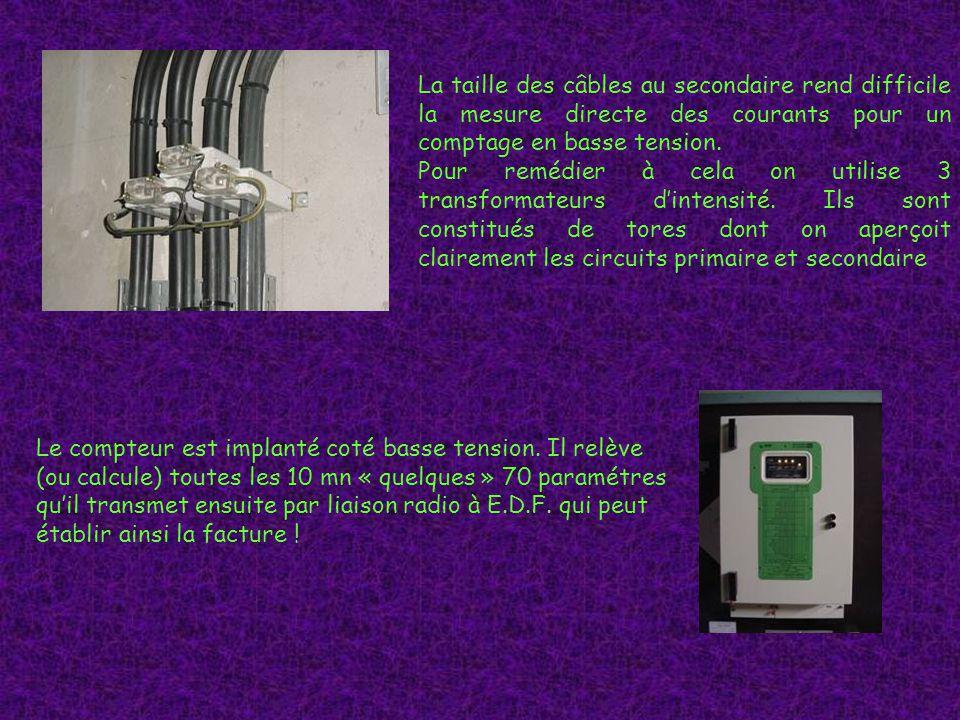 La taille des câbles au secondaire rend difficile la mesure directe des courants pour un comptage en basse tension.