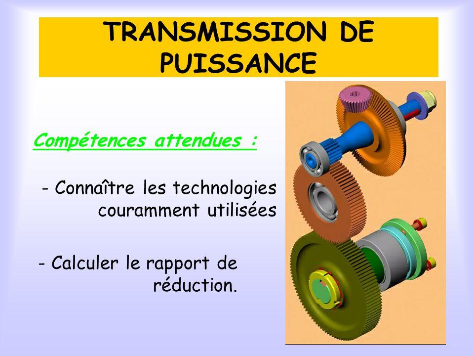 TRANSMISSION DE PUISSANCE Compétences attendues : - Connaître les technologies couramment utilisées - Calculer le rapport de réduction.