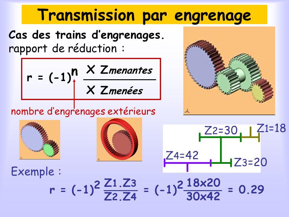 Transmission par engrenage Cas des trains dengrenages. rapport de réduction : r = (-1) n x Z menantes x Z menées Exemple : r = (-1) 2 Z 1.Z 3 Z 2.Z 4
