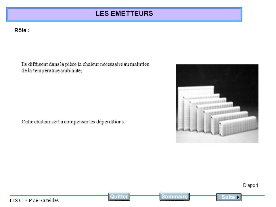 Diapo 2 ITS C E P de Bazeilles LES EMETTEURS Différents types démetteurs : Ils sont constitués déléments assemblés entre eux.