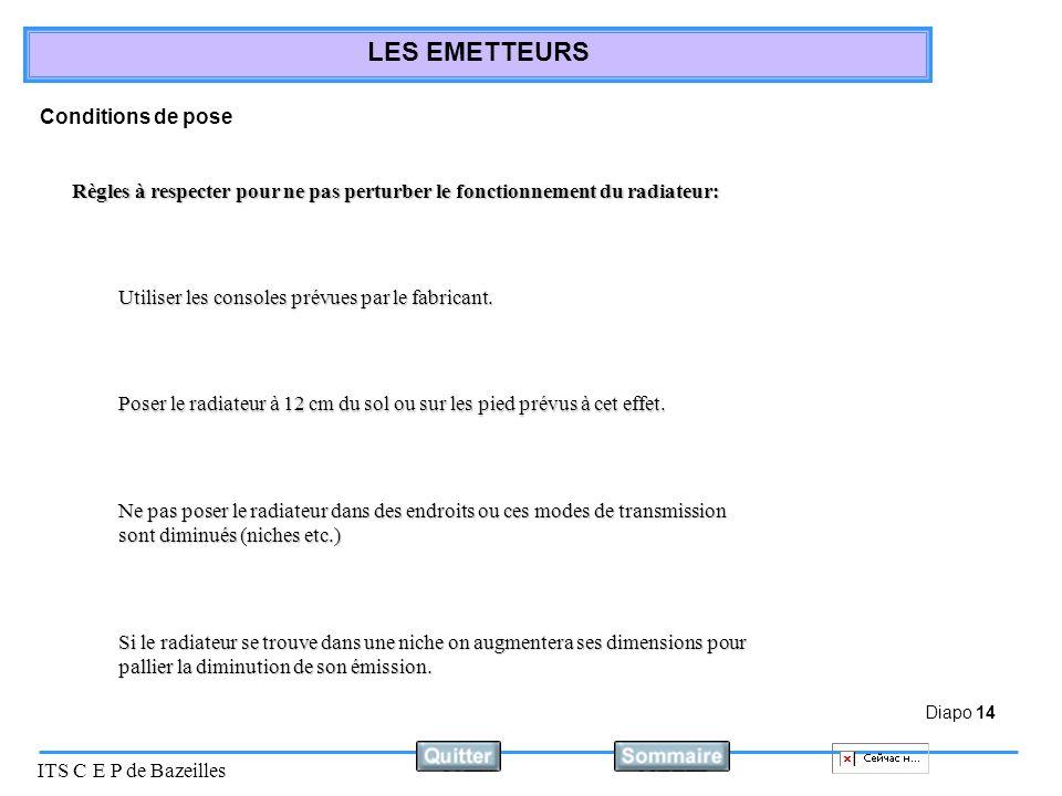Diapo 14 ITS C E P de Bazeilles LES EMETTEURS Conditions de pose Règles à respecter pour ne pas perturber le fonctionnement du radiateur: Utiliser les consoles prévues par le fabricant.
