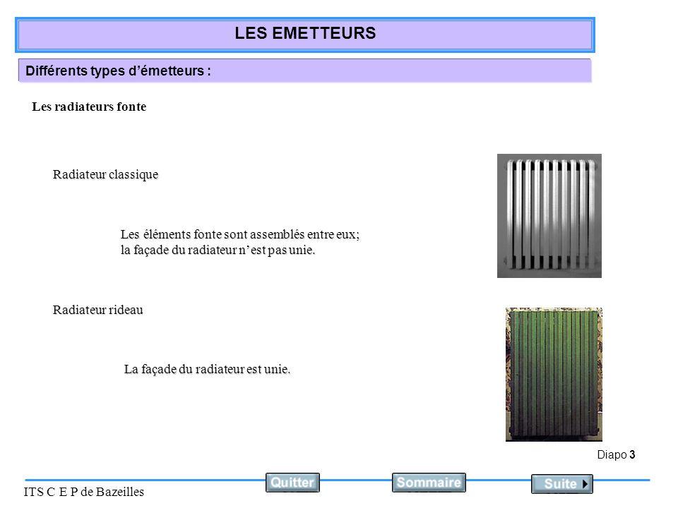 Diapo 3 ITS C E P de Bazeilles LES EMETTEURS Différents types démetteurs : Radiateur classique Radiateur rideau Les radiateurs fonte Les éléments fonte sont assemblés entre eux; la façade du radiateur nest pas unie.