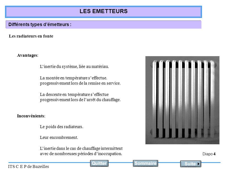Diapo 15 ITS C E P de Bazeilles LES EMETTEURS Equipement des radiateurs Les radiateurs sont équipés : Dun robinet de radiateur simple réglage permettant lisolation du radiateur.