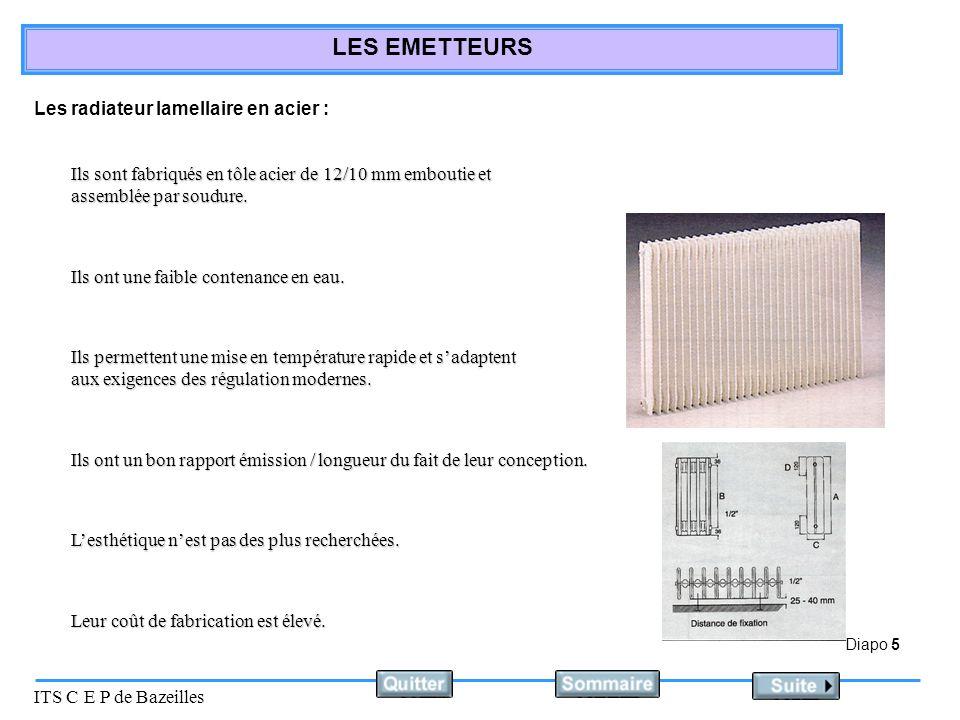 Diapo 6 ITS C E P de Bazeilles LES EMETTEURS Les radiateur panneaux en acier : Ils sont fabriqués en acier en tôle de 12/10 mm.