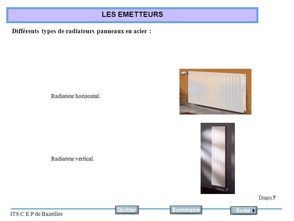 Diapo 8 ITS C E P de Bazeilles LES EMETTEURS Deux aspects : Radiateur classique Radiateur à surface plane.