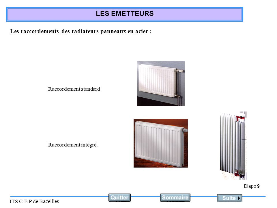 Diapo 9 ITS C E P de Bazeilles LES EMETTEURS Raccordement standard Raccordement intégré.