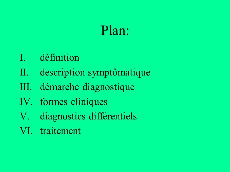Plan: I.définition II.description symptômatique III.démarche diagnostique IV.formes cliniques V.diagnostics différentiels VI.traitement