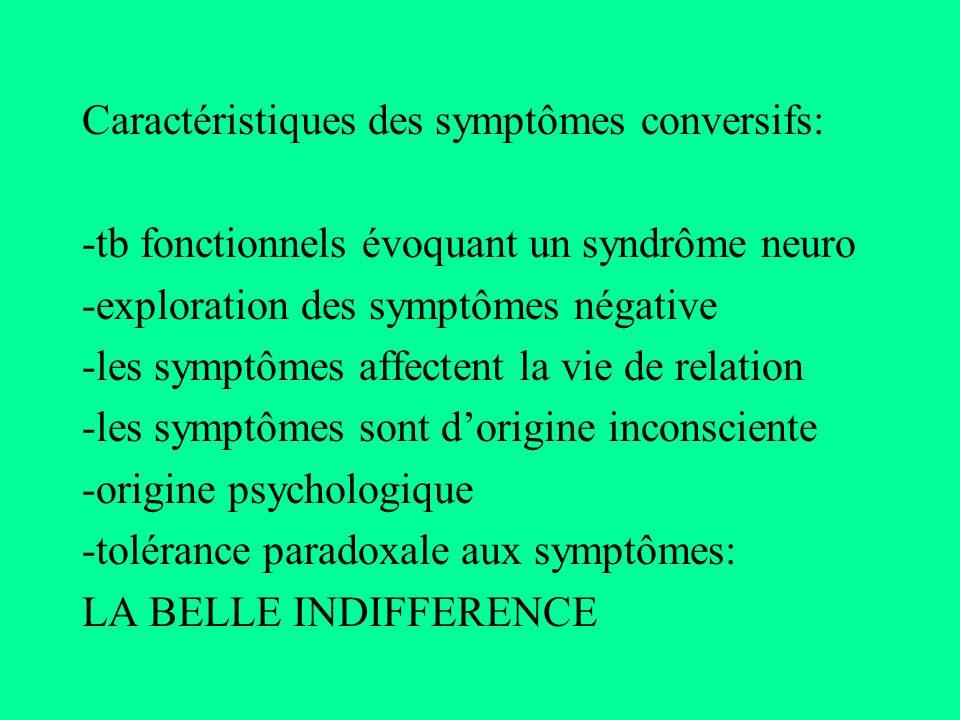 Caractéristiques des symptômes conversifs: -tb fonctionnels évoquant un syndrôme neuro -exploration des symptômes négative -les symptômes affectent la