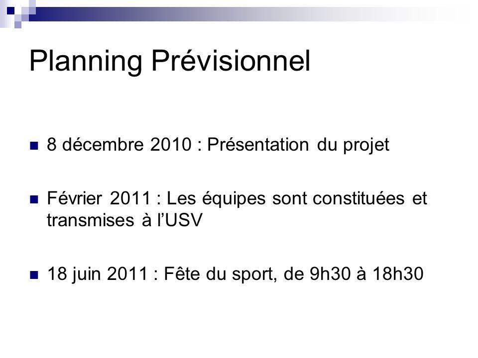 Planning Prévisionnel 8 décembre 2010 : Présentation du projet Février 2011 : Les équipes sont constituées et transmises à lUSV 18 juin 2011 : Fête du