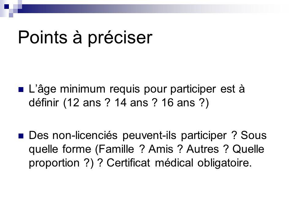 Points à préciser Lâge minimum requis pour participer est à définir (12 ans ? 14 ans ? 16 ans ?) Des non-licenciés peuvent-ils participer ? Sous quell