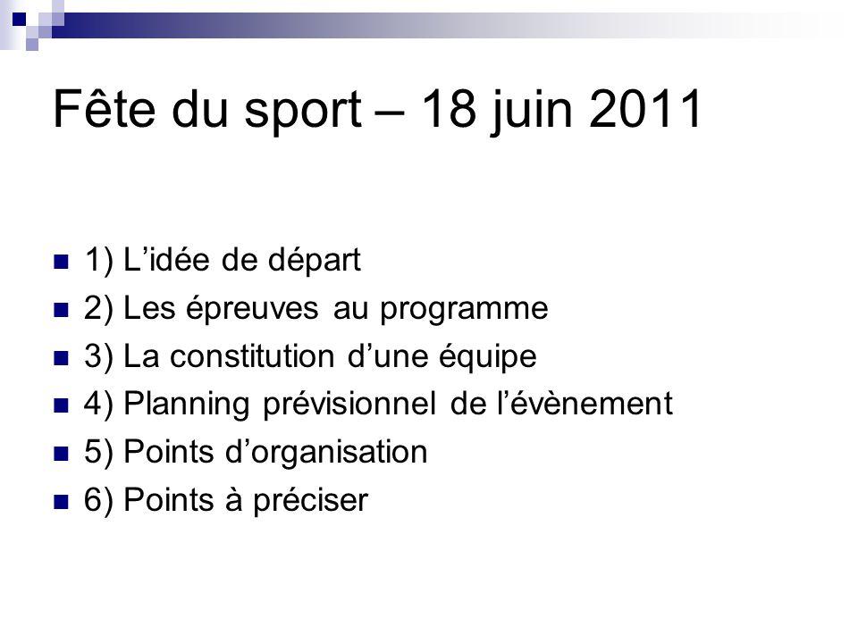 Fête du sport – 18 juin 2011 1) Lidée de départ 2) Les épreuves au programme 3) La constitution dune équipe 4) Planning prévisionnel de lévènement 5)