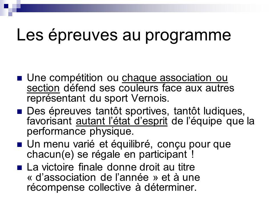 Les épreuves au programme Une compétition ou chaque association ou section défend ses couleurs face aux autres représentant du sport Vernois. Des épre
