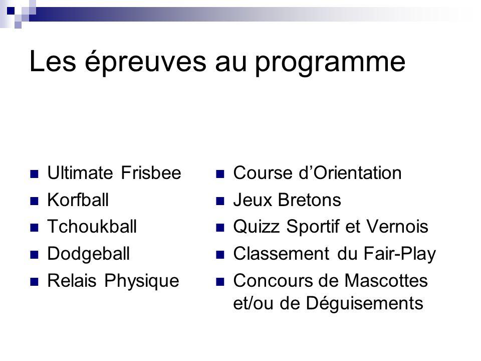 Les épreuves au programme Ultimate Frisbee Korfball Tchoukball Dodgeball Relais Physique Course dOrientation Jeux Bretons Quizz Sportif et Vernois Cla